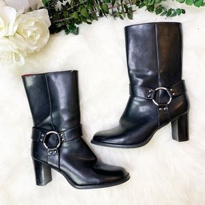 Tommy Girl | Mid Calf Leather Biker Booties